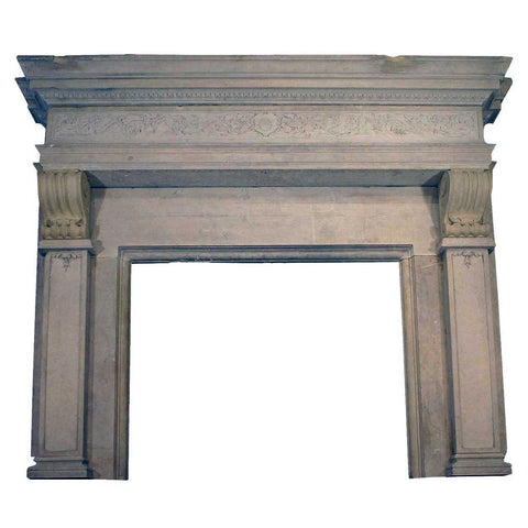 Large French Renaissance Style Marble Fireplace Surround
