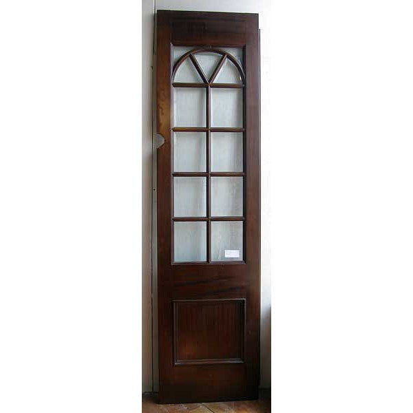 Mahogany and Beveled Glass Pane Single French Door/Room Divider