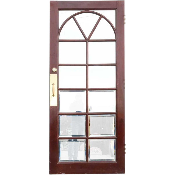 Vintage Solid Mahogany and Beveled Glass Interior Single Door (3 available)