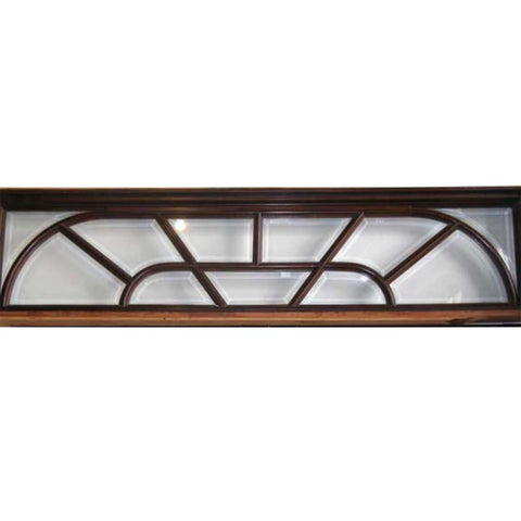 Vintage Solid Mahogany and Beveled Glass Mullion Transom Window