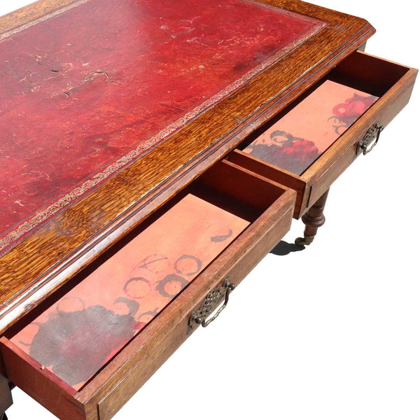 English Victorian Leather Top Quarter Sawn Oak Writing Desk on Casters