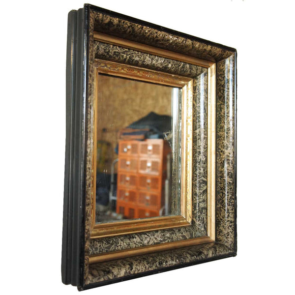 Pair of Small American Gilt and Walnut Framed Mirrors