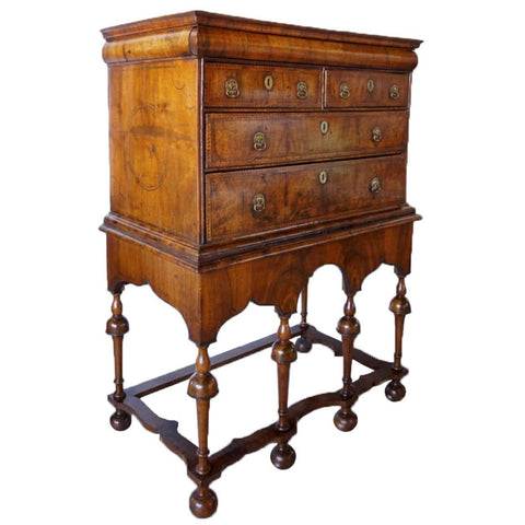 English William and Mary Inlaid Burled Walnut Veneer Chest on Stand