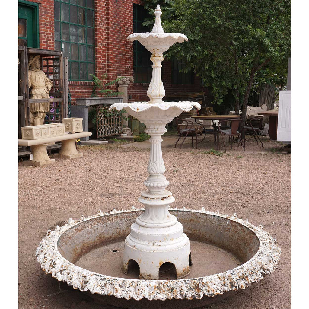 Bon American J.W. Fiske Victorian Painted Cast Iron Two Tier Garden Fountain  And Pan