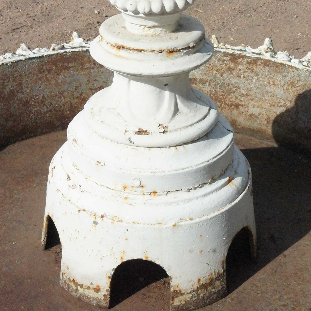 American J.W. Fiske Victorian Painted Cast Iron Two Tier Garden Fountain  And Pan
