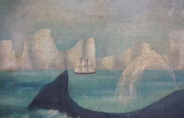 Norwegian Folk Art Oil Painting on Canvas, Whaling