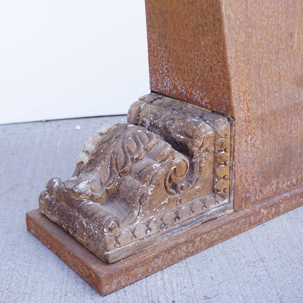 Indian Limestone Architectural Carving and Brackets with Custom Iron Stand