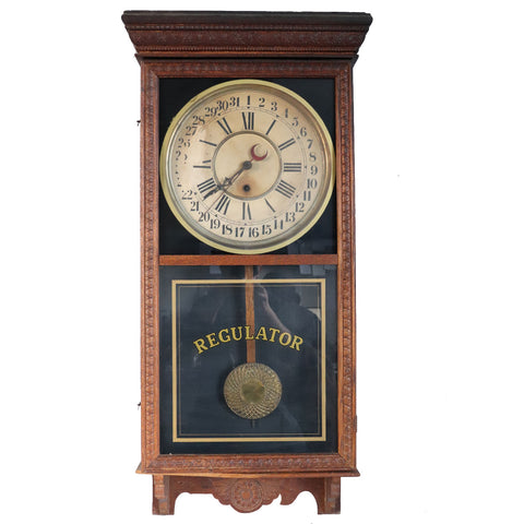 Large American Sessions Clock Company Oak Regulator Hanging Wall Clock and Calendar