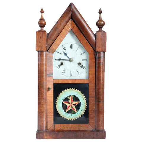 American New Haven Clock Company Rosewood Veneer Steeple 8-Day Shelf Clock