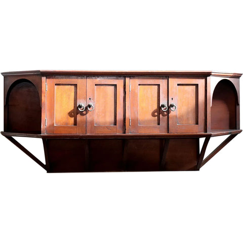 English Liberty & Co. Aesthetic Movement Godwin Style Teak Wall Cabinet Shelf