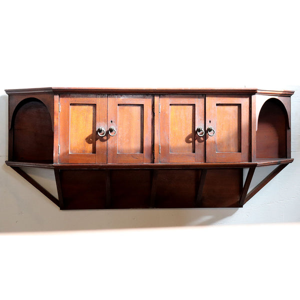 English Aesthetic Movement Teak or Walnut Wall Shelf Cabinet