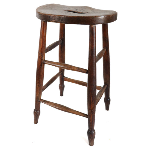 English Victorian Elm Windsor Saddle Seat Stool