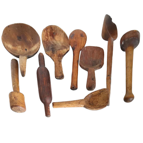 Collection of Nine American New England Primitive Wooden Kitchen Cooking Tools