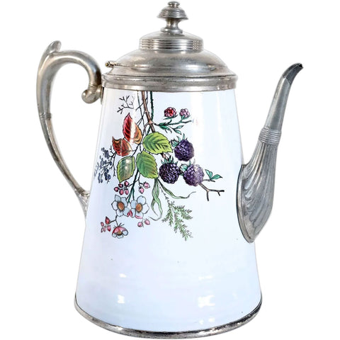 Rare American Manning & Bowman Blackberry Enamel and Pewter Graniteware Coffee Pot