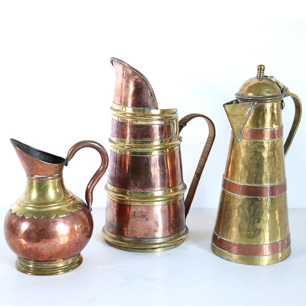 Collection of Three English and Chinese Copper and Brass Pitchers