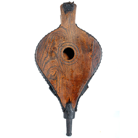 English Georgian Iron Mounted Elm and Leather Fireplace Bellows