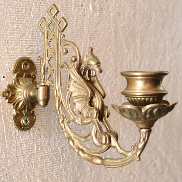 Small English Renaissance Revival Brass Adjustable Wall Bracket One-Light Candle Sconce
