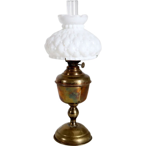 American Plume & Atwood Acorn Kerosene Oil Lamp and White Milk Glass Shade