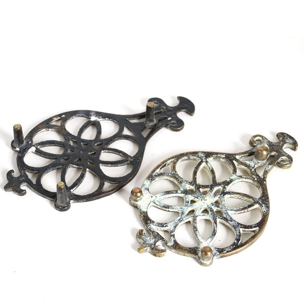 Set of Two English Victorian Brass Celtic Knot Round Kitchen Kettle Stand / Pot Trivets
