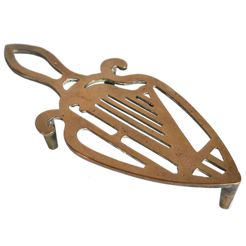 English Victorian Reticulated Brass Irish Harp Flat Iron Trivet