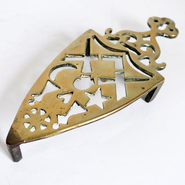 Small English Victorian Reticulated Brass Flat Iron Trivet