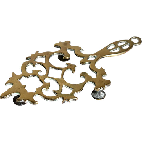 Small English Chippendale Revival Brass Reticulated Flat Iron Trivet