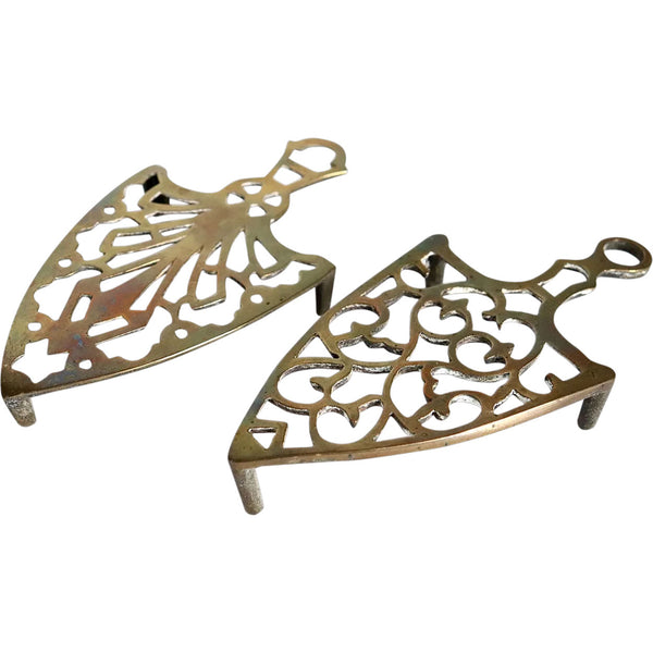 Two Small English Reticulated Brass Flat Iron Trivets