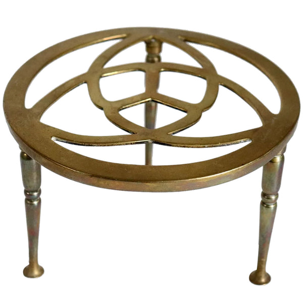 English Reticulated Brass Round Kettle Fireplace Trivet / Teapot Stand