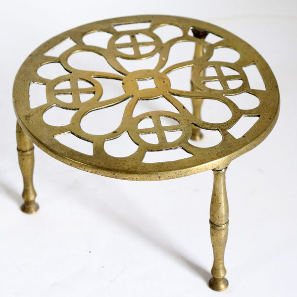 English Reticulated Brass Round Kettle Stand / Teapot Trivet