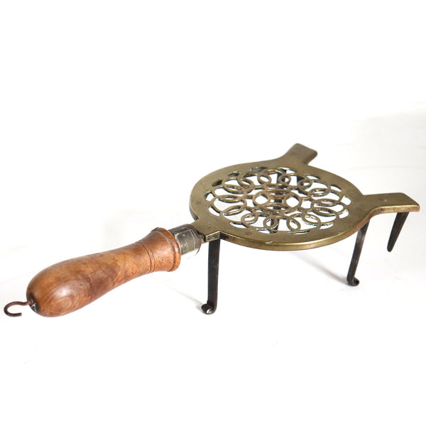 English Victorian Reticulated Round Brass, Iron and Elm Handle Fireplace Hearth Trivet