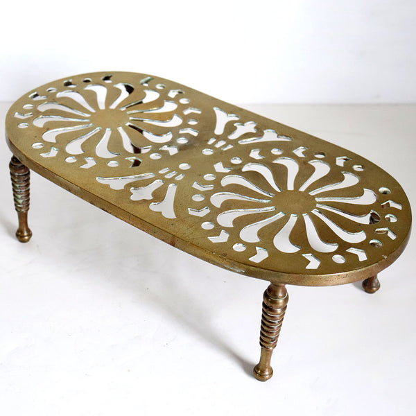 Large English Victorian Reticulated Brass Fireplace Hearth Trivet