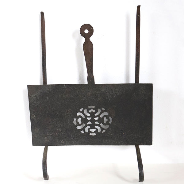English Georgian Forged Iron Fireplace Hearth Sliding and Hanging Trivet