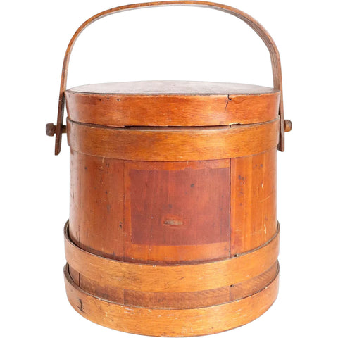 Small American New England Wooden Stave Storage Bucket with Lid