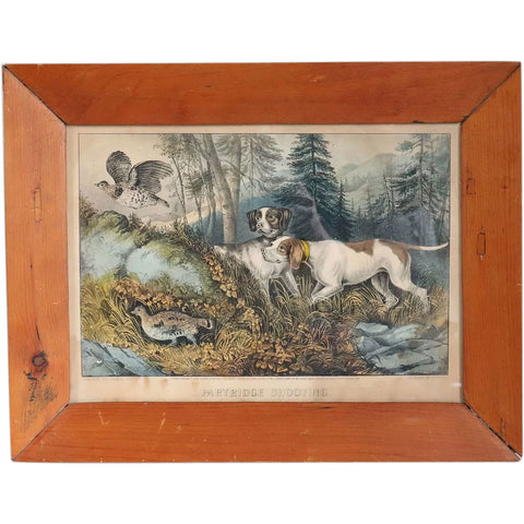 Framed American Currier and Ives Colored Lithograph, Partridge Shooting