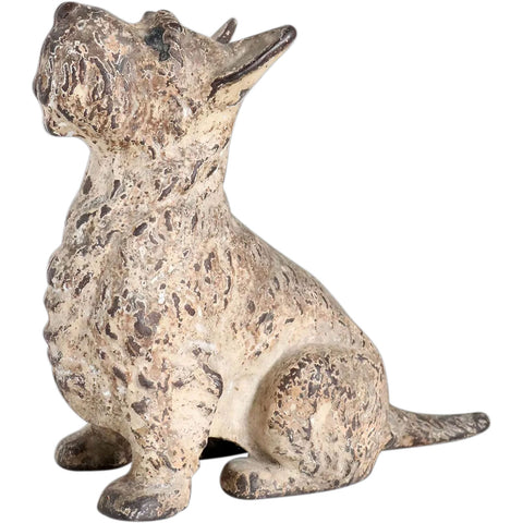 American Hubley Hand Painted Cast Iron Seated West Highland White Terrier Dog Door Stop