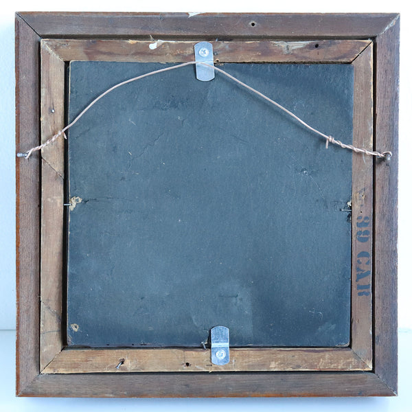 Small Victorian Walnut Framed Beveled Square Wall Mirror