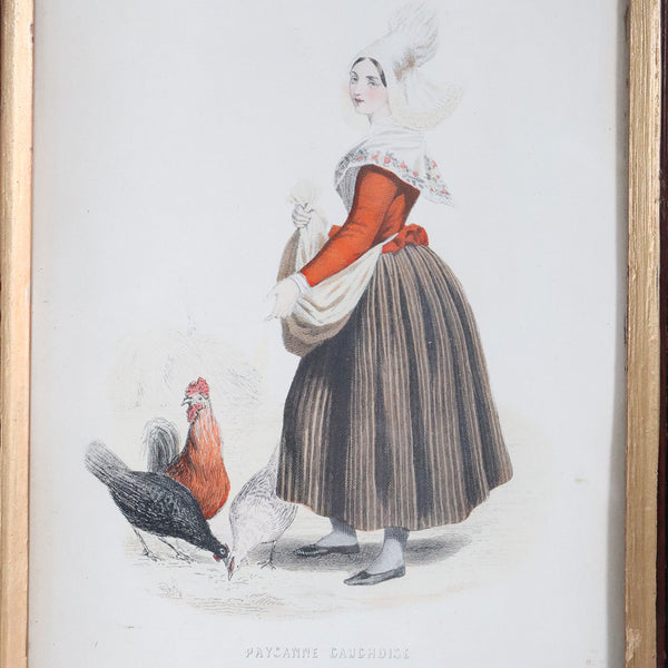 Small French Walnut Framed Colored Fashion Engraving, Paysanne Cauchoise