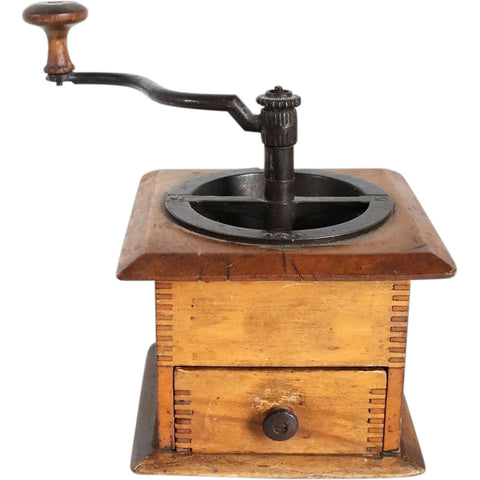 American Victorian Iron Hand Crank and Maple Box Coffee Mill Grinder
