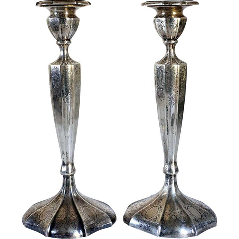 Pair of American Meriden Brittania Engraved Sterling Silver Candlesticks