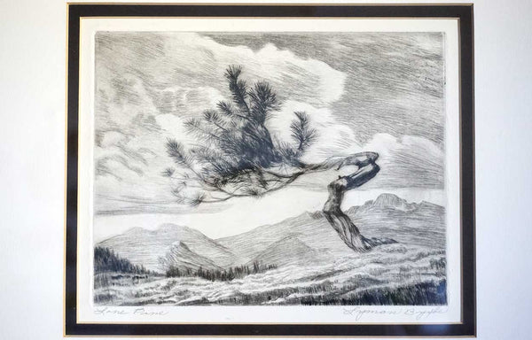 LYMAN BYXBE Drypoint Etching, Lone Pine
