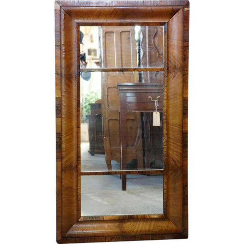 Large American New England Mahogany Veneer Rectangular Molded Mirror