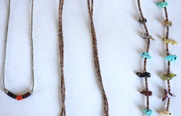 Three Vintage Native American Heishi Beaded Necklaces