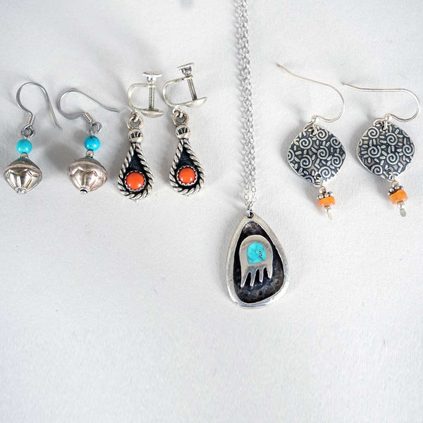 Three Pairs Vintage Native American Silver, Coral and Turquoise Earrings and Necklace