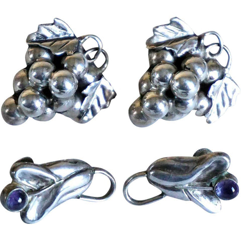 Two Pairs of Vintage Mexican Taxco Sterling Silver and Amethyst Grape and Flowers Earrings