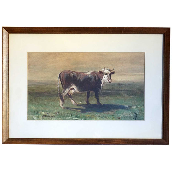 HARVEY OTIS YOUNG Oil on Board Painting, Cow