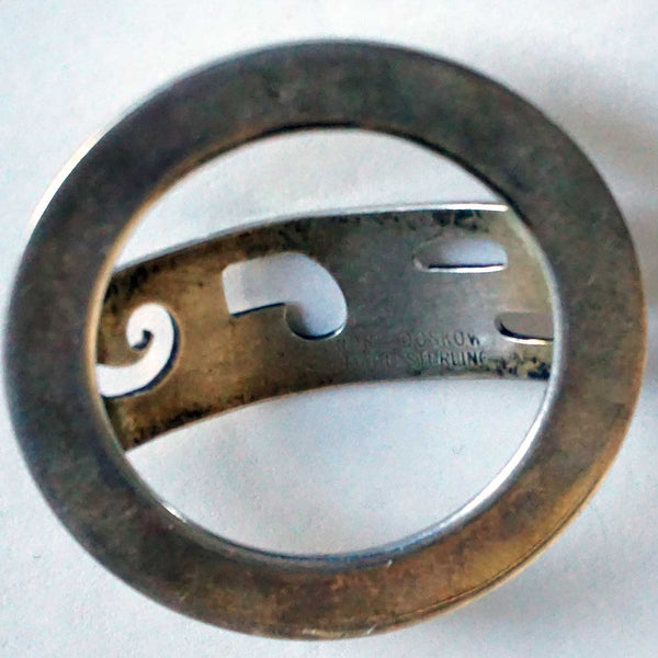 Vintage American LEONORE DOSKOW Mid Century Modern Sterling Silver Monogram Scarf Buckle