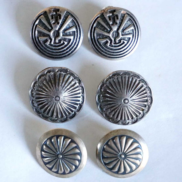 Three Pairs Vintage American Southwest Sterling Silver Concho-Style Earrings