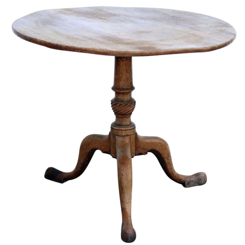 English Georgian Faded Mahogany Round Pedestal Tilt-Top Side Table