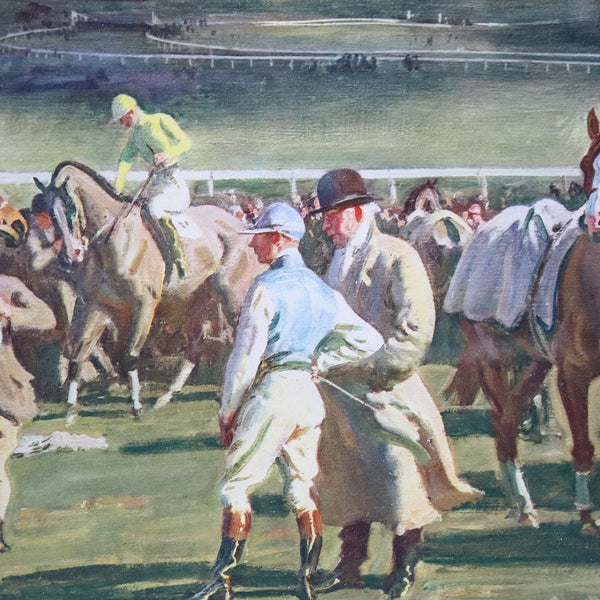 After SIR ALFRED J. MUNNINGS Color Print, The Saddling Paddock