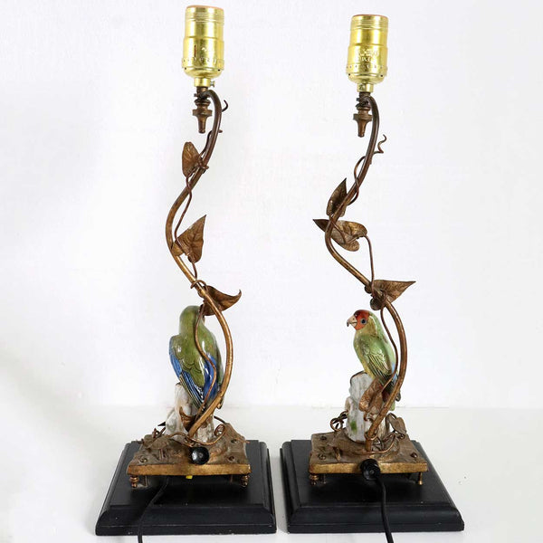 Pair of German Dresden Porcelain Bird and Gilt Bronze One-Light Table Lamps